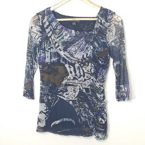 Tribal | Mesh Abstract Print Blue Blouse Top XS